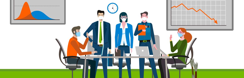 Personen im Büro mit Mund-Nasen-Schutz