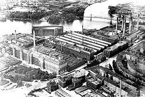 Historisches Luftbild vom Kabelwerk Oberspree