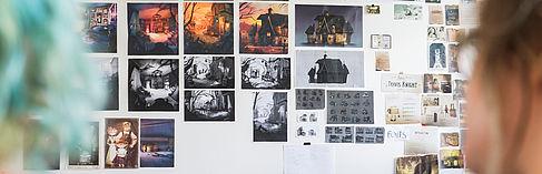 Skizzen an der Wand
