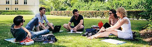 Gruppe von Studierenden auf der Wiese auf dem Campus Treskowallee
